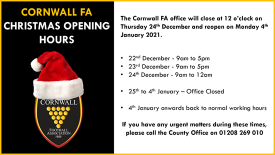 CCFA Christmas Opening Hours 2020