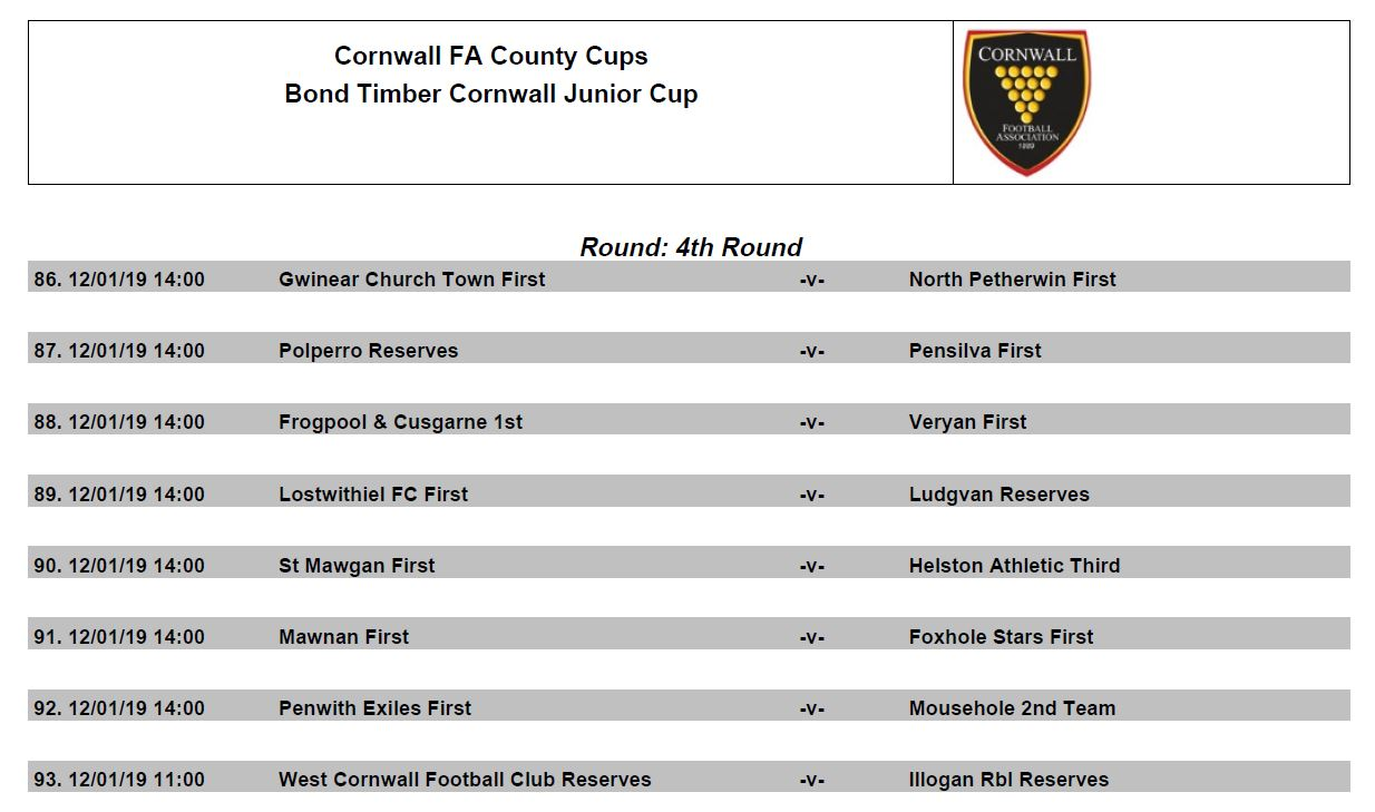 Bond Timber Junior Cup 4th Round Draw