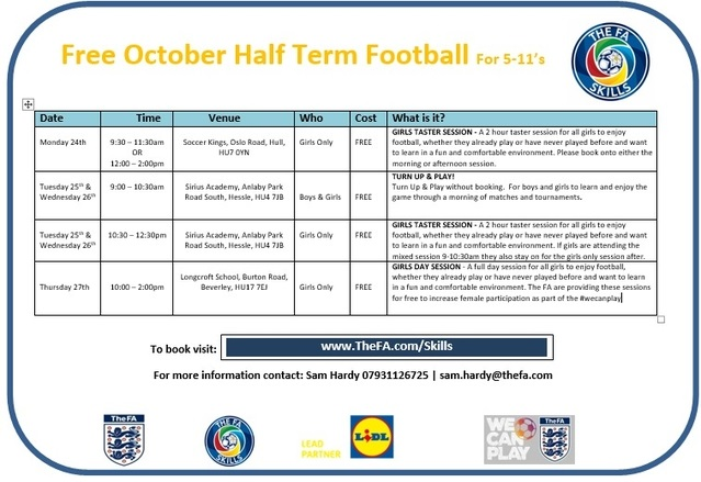 FA Skills October Half Term Timetable
