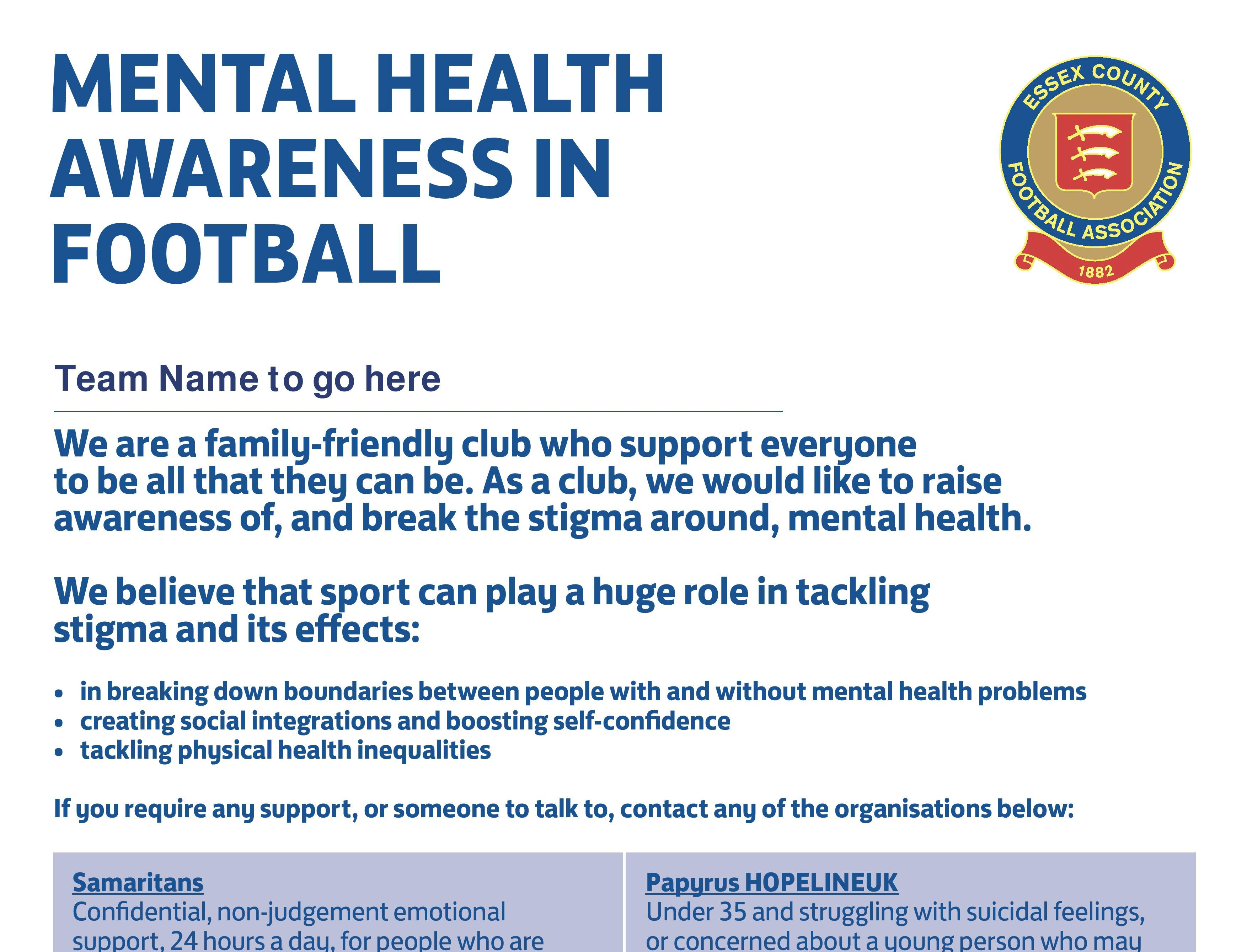 Mental Health Awareness in Football