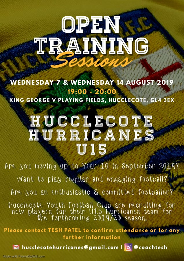 Hucclecote u15 advertise poster
