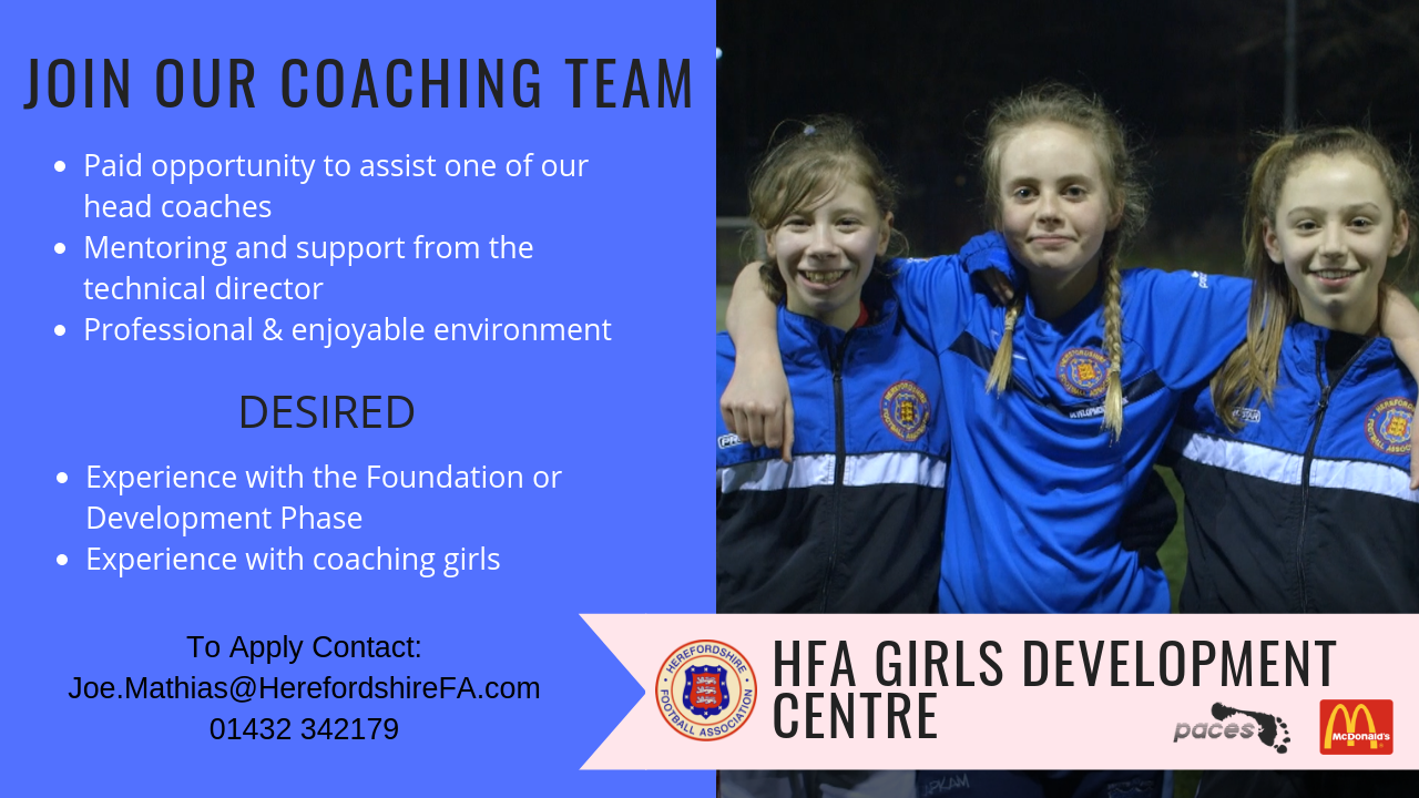 Herefordshire FA Girls Development Centre Vacancy