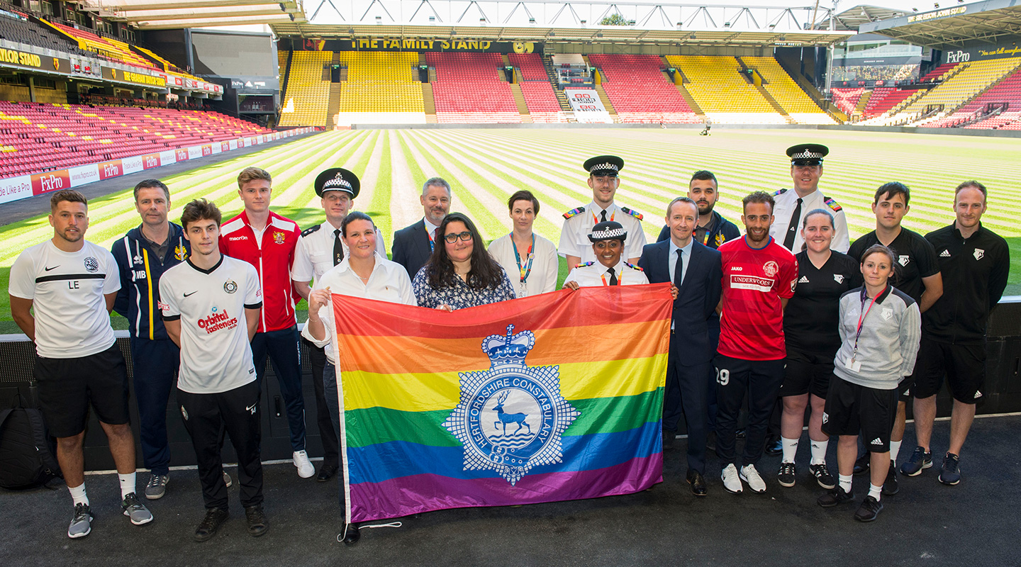 Representatives of Hertfordshire FA, Police and clubs discuss results of homophobia in football survey