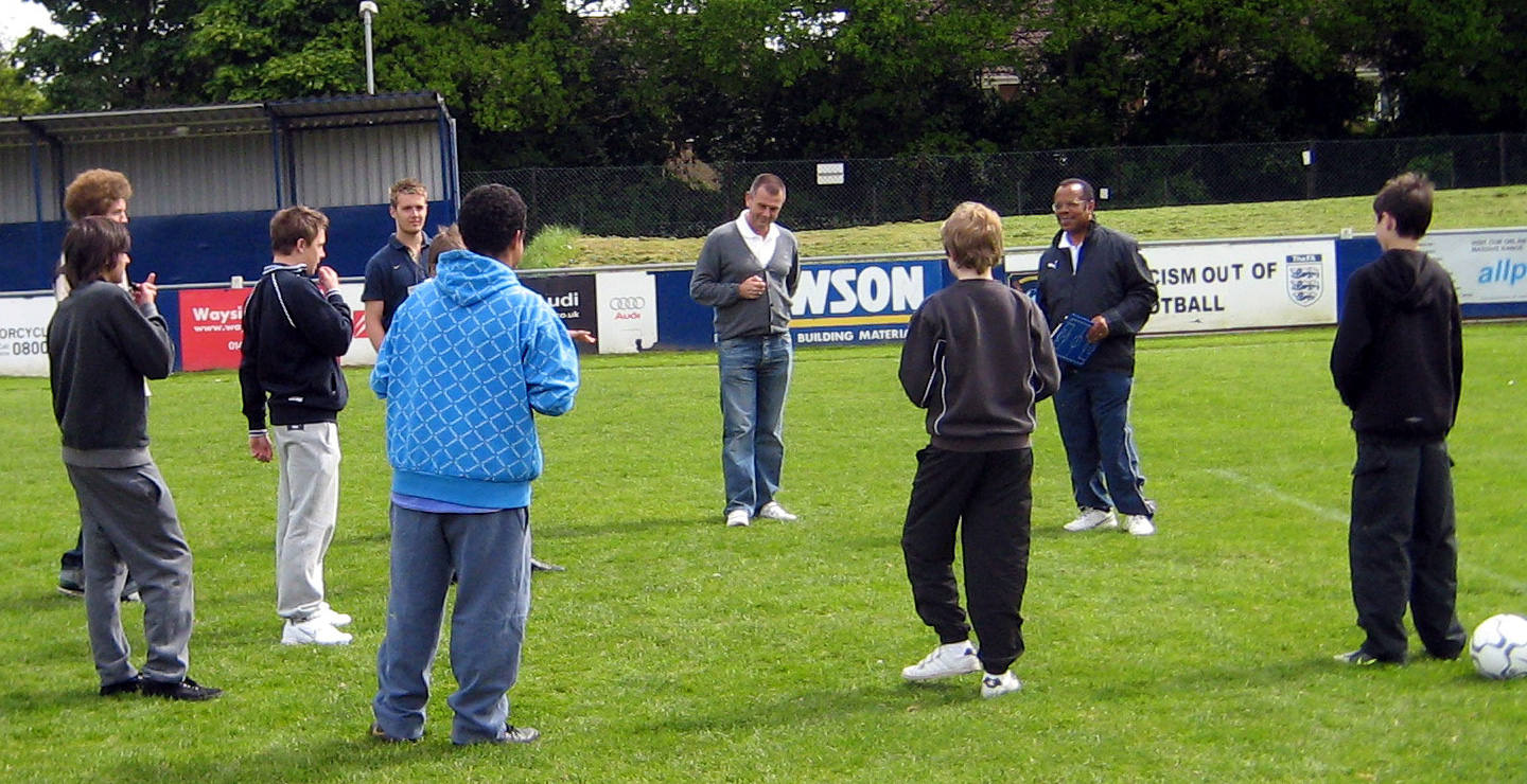 The late Theo Peters with a group of trainee referees in 2009