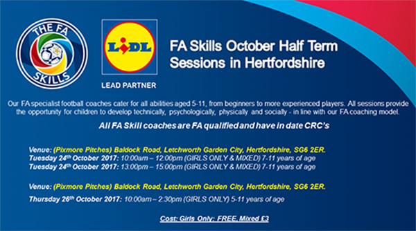 FA Skills October Half Term Sessions in Hertfordshire