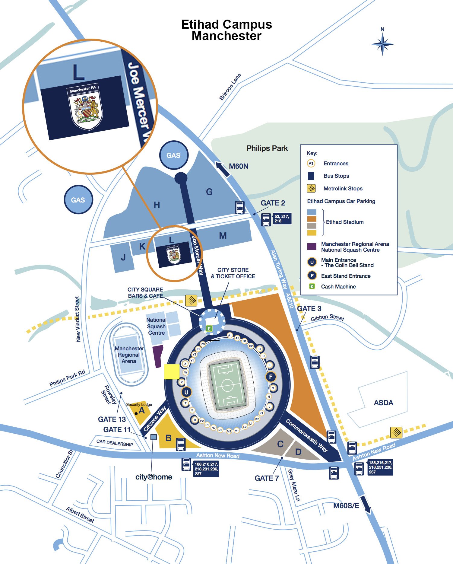A detailed map of where the Manchester FA offices are located on the Etihad Campus.