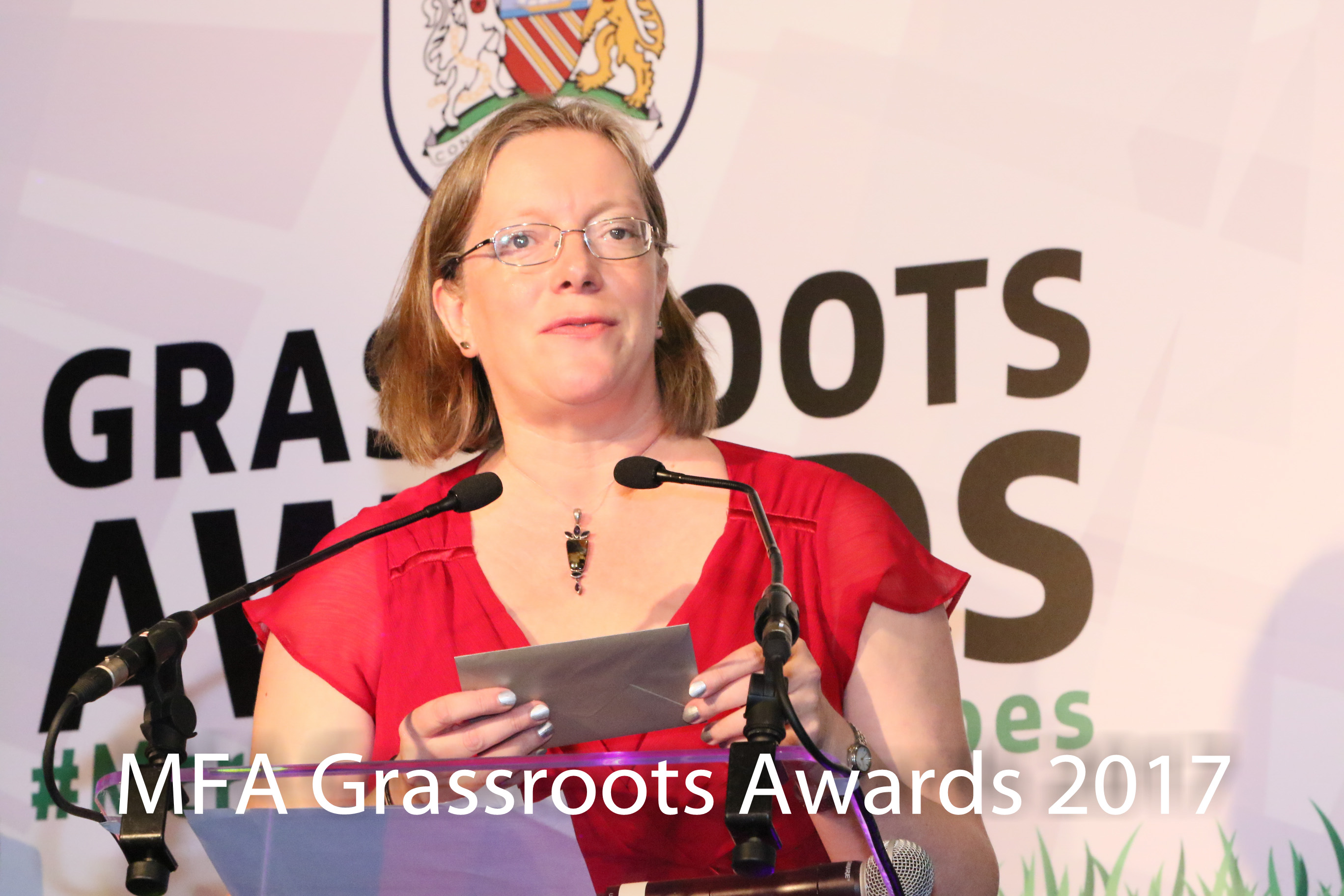 Kate Ramsey at the 2017 Manchester FA Grassroots Awards.
