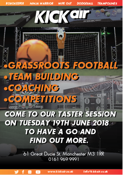 KIckair promotional poster of the Manchester FA taster session.