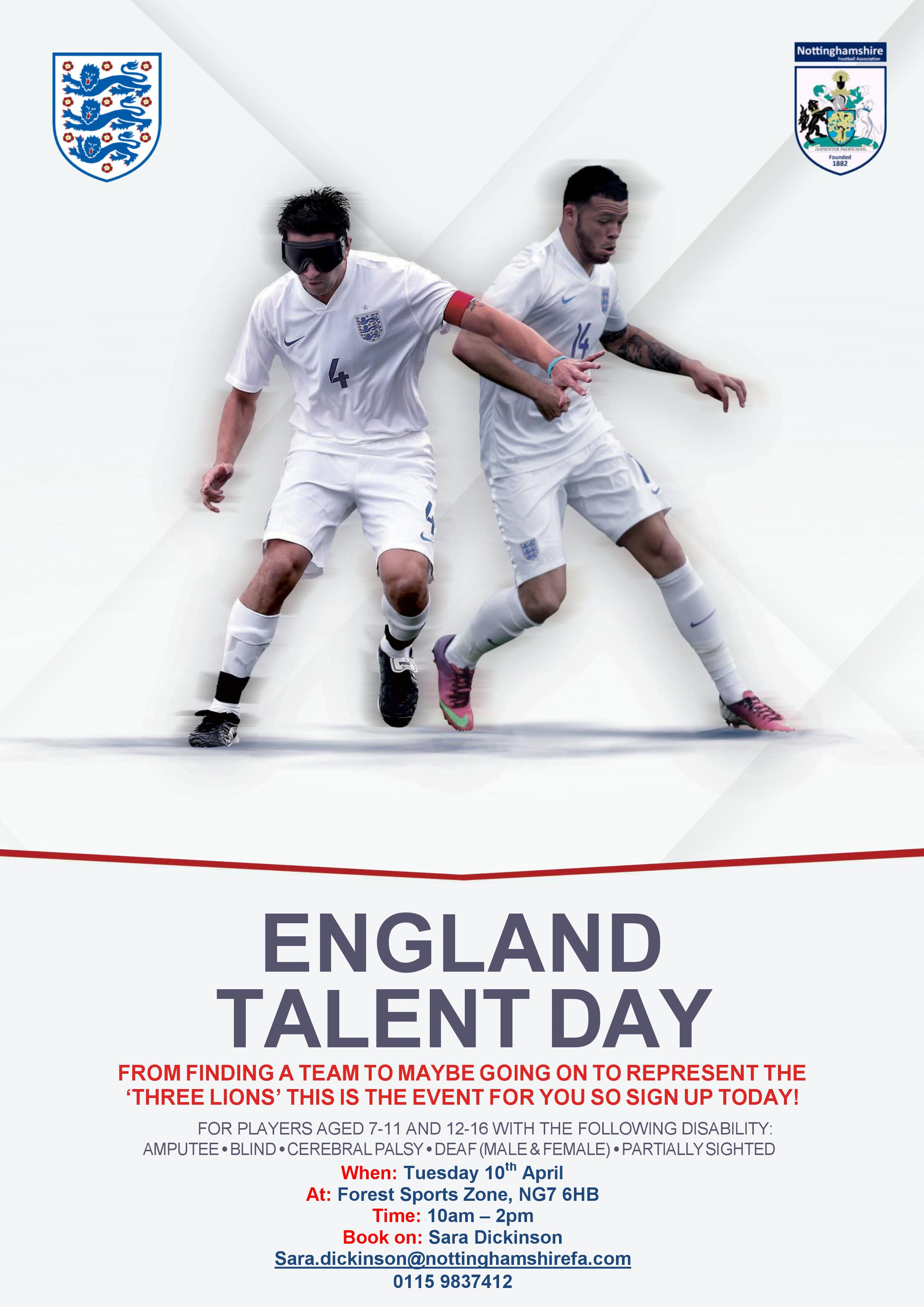 England Talent Pathway disability poster