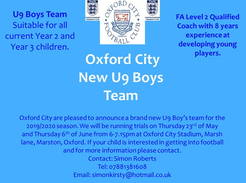 Oxford City U9 Boys