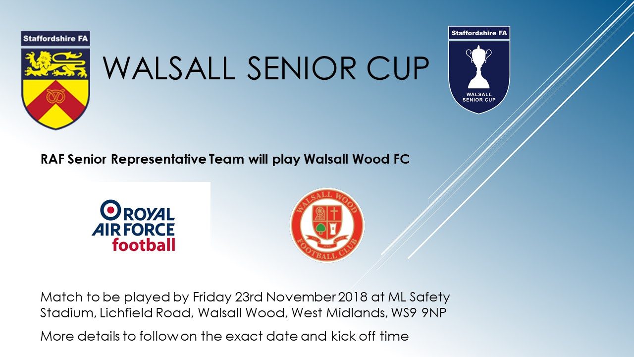 Walsall Wood v RAF Men advert