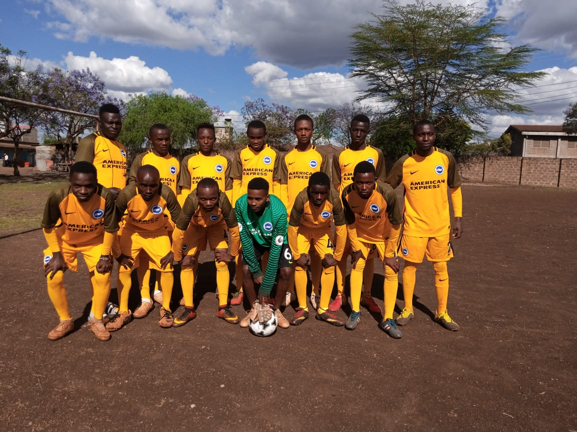 Chapel Field FC in new jersies Brighton kit Kenya