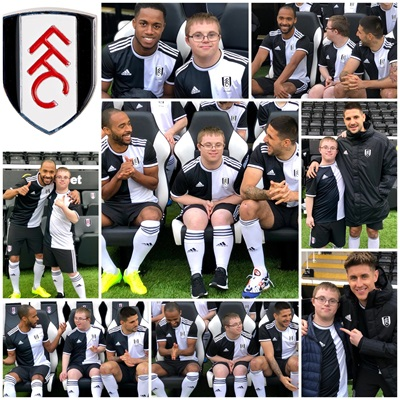 Tom with Fulham Players - 140 Year Anniversary