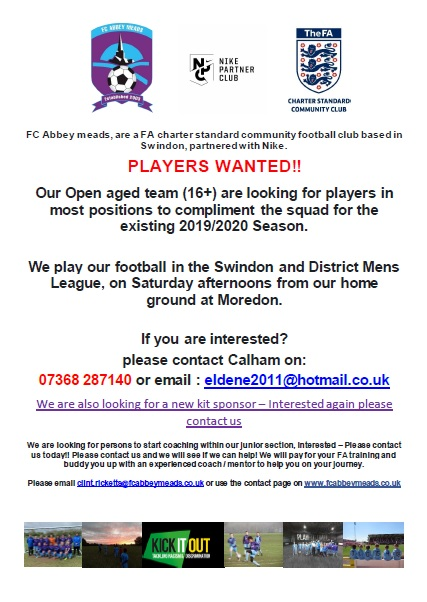 FC Abbeymeads Player Ad
