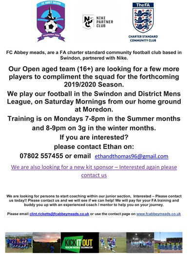 FC Abbeymeads advert
