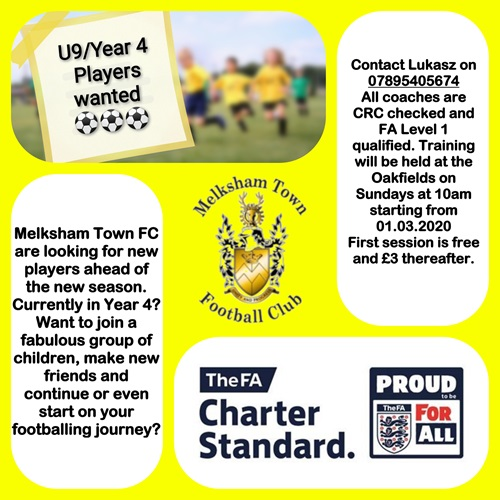 Melksham Town U9 Player Recruitment