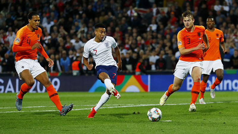 Lingard thought he'd won it for England, only for this effort to be ruled out