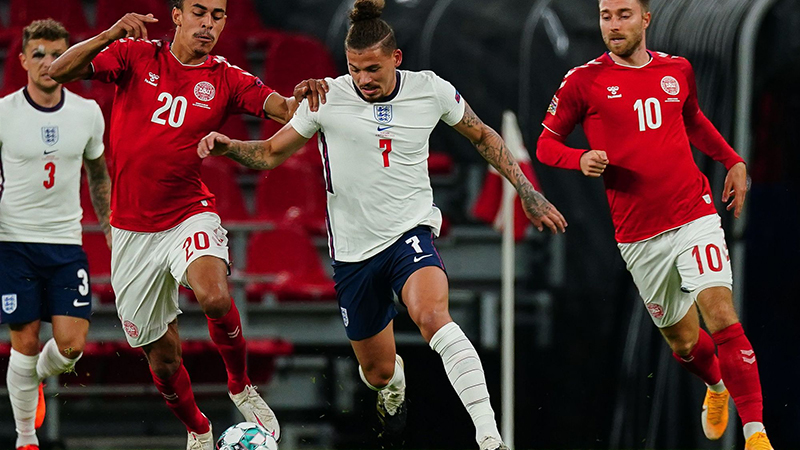 Kalvin Phillips in action on his England debut