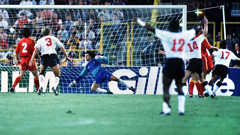 England's David Platt scores against Belgium at the 1990 World Cup in Italy