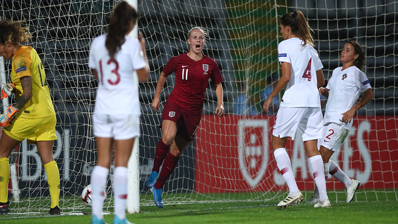 England's Beth Mead scores against Portugal