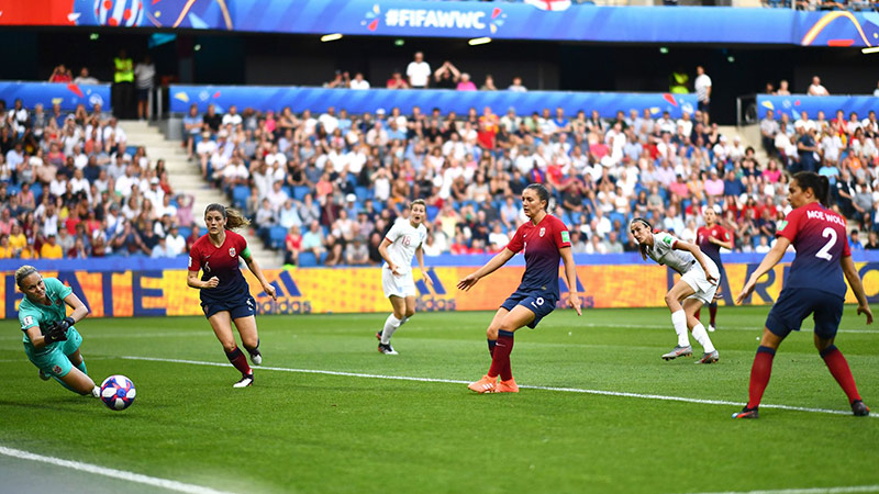 Jill Scott scores against Norway in the World Cup quarter final
