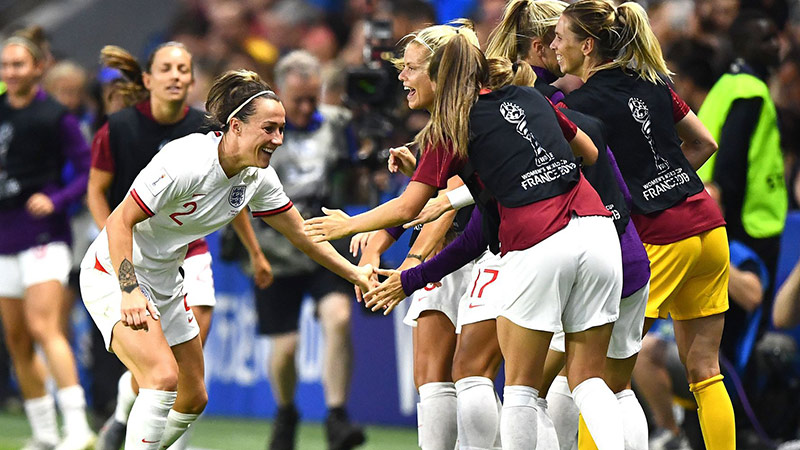 Lucy Bronze celebrates her strike against Norway at the 2019 World Cup
