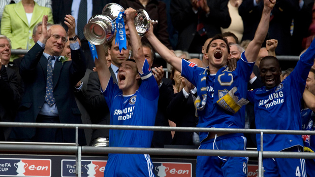 Chelsea captain John Terry lifts The FA Cup at Wembley in 2007