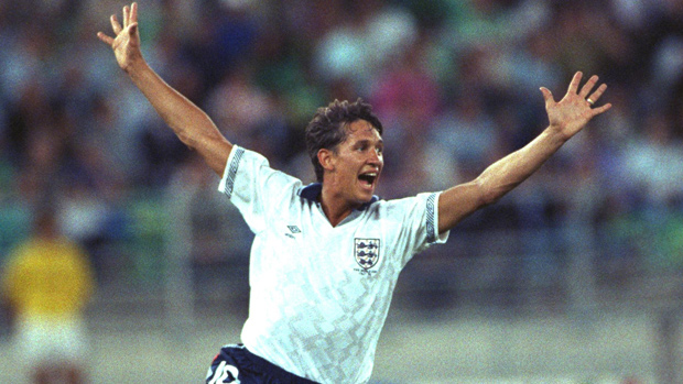 Gary Lineker celebrates scoring against West Germany in the semi-final of the 1990 World Cup