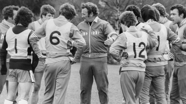 Don Revie takes an England coaching session in 1977