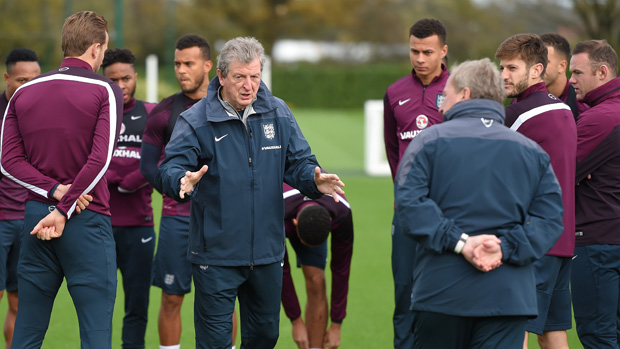Roy Hodgson talks to his players