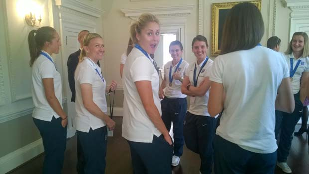 England skipper Steph Houghton shows her delight during visit to Kensington Palace.