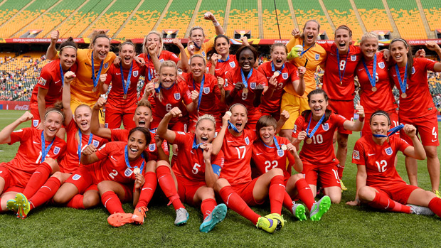 England Women pose with their bronze medals