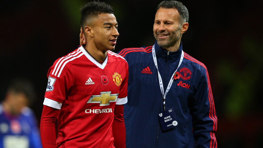 Jesse Lingard is congratulated by Ryan Giggs after his goalscoring performance