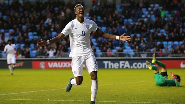 76a1cd8b0 ... England U19s striker Tammy Abraham celebrates his goal against Japan