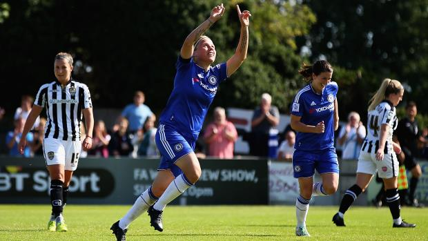 Gilly Flaherty celebrates a goal for Chelsea