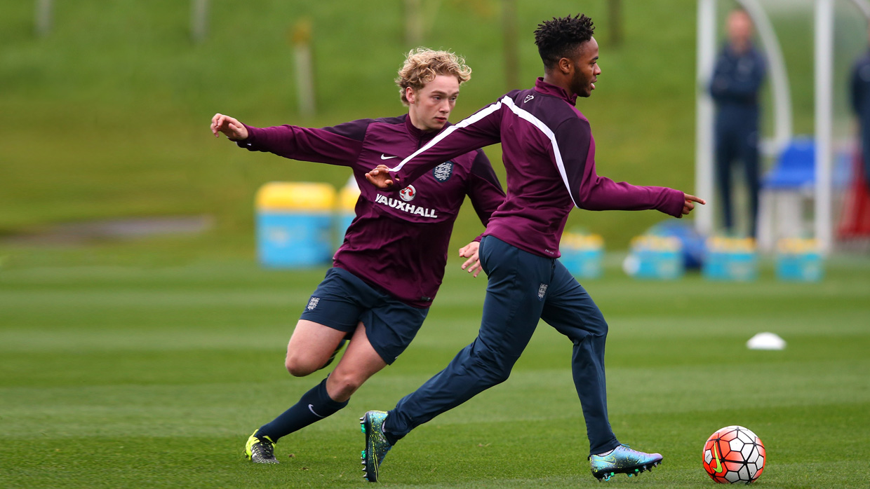 42501153001 ... Tom Davies in action at training with Raheem Sterling for the senior  squad