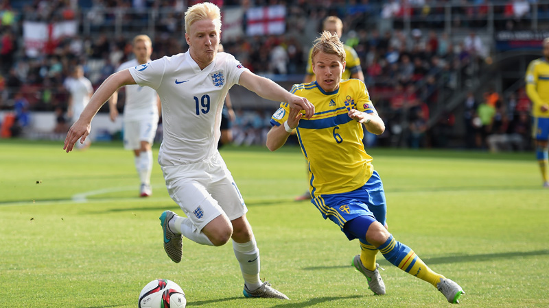 England Under-21s midfielder Will Hughes in action against Sweden at the Euro Finals