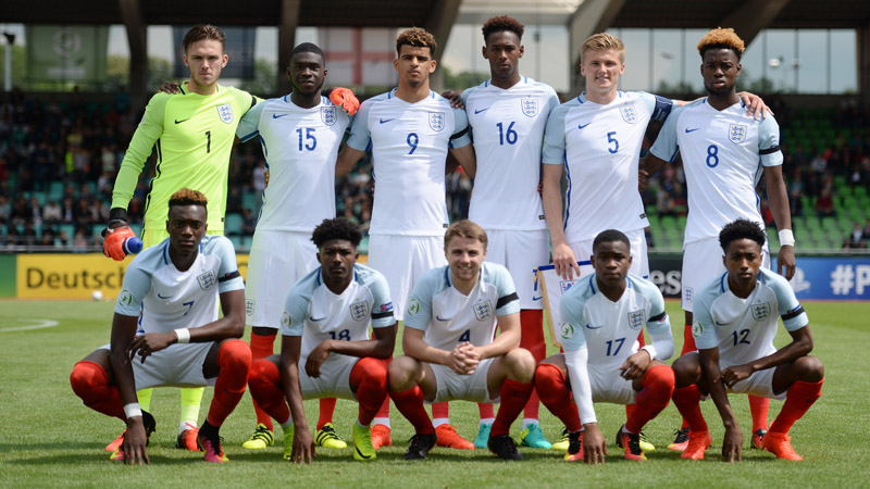 England Under-19s line-up to face the Netherlands in Ulm