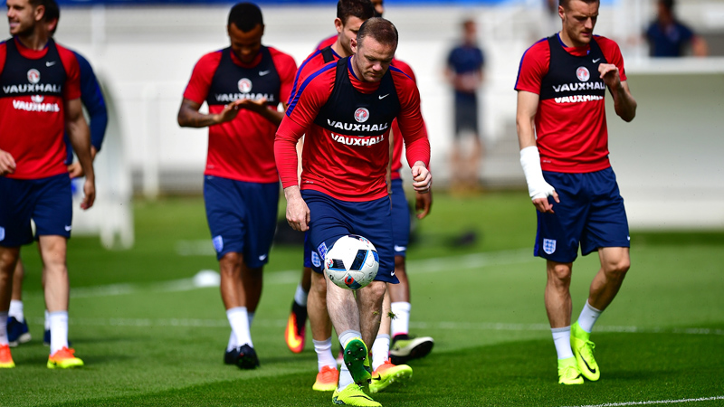 England captain Wayne Rooney in training at Chantilly ahead of the game with Iceland.