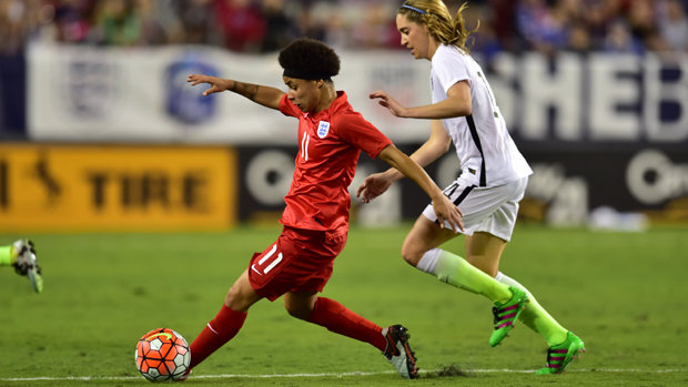 Demi Stokes in action against USA