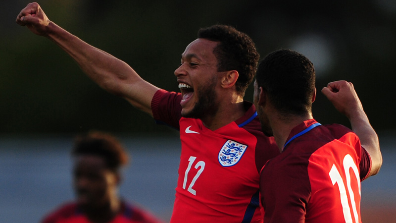 Lewis Baker and Ruben Loftus-Cheek celebrate the opener against Paraguay