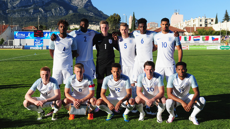 The England Under-21s line-up to face Portugal in Toulon