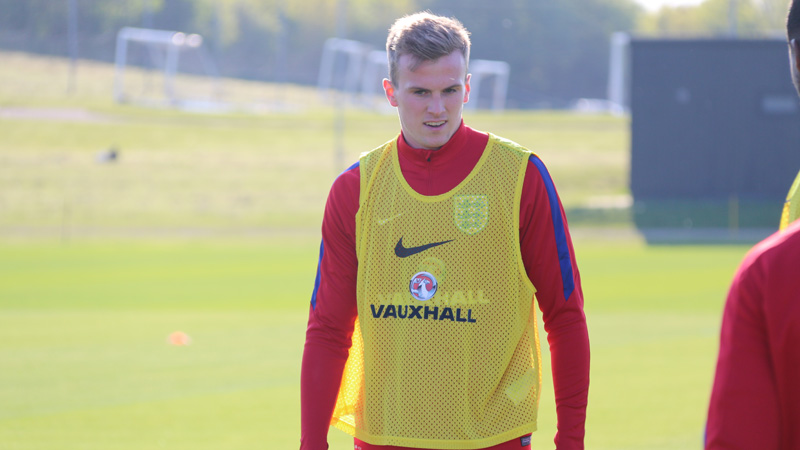 Rob Holding during his first training session with England Under-21s at St. George
