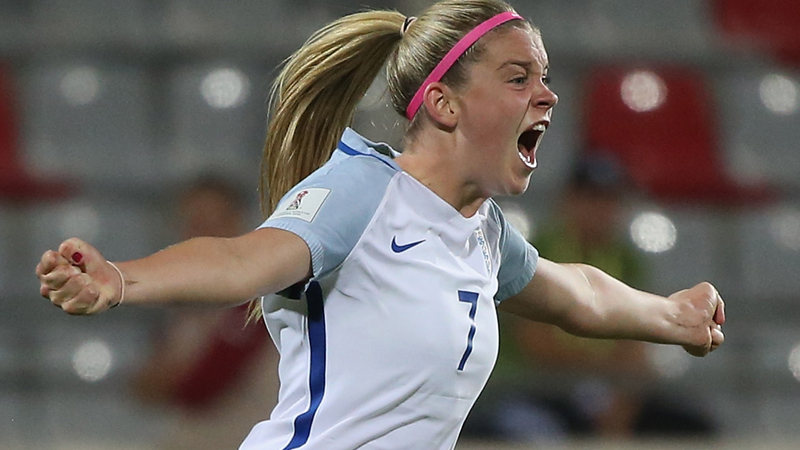 Alessia Russo celebrates her last-gasp equaliser against North Korea
