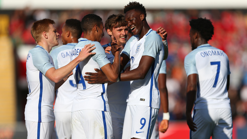 83ab88997 ... Tammy Abraham celebrates his goal for England U21s against Bosnia    Herzegovina