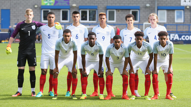 England Under-19s line-up to face the Netherlands in September 2016