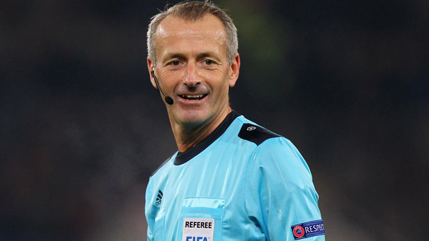 English referee Martin Atkinson during a Champions League match between Roma and Bate Borisov