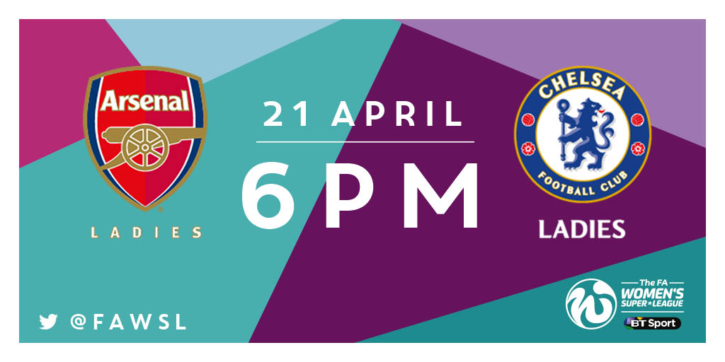 The kick-off between Arsenal and Chelsea in The FA WSL 1 is now 6pm