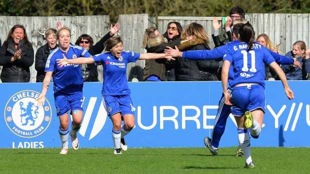 Fran Kirby celebrates after netting the late winner