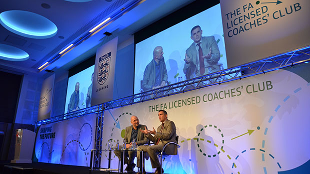 Former Bolton and Burnley manager, Owen Coyle, speaks with Mark Clemmit at the 2012 Licensed Coaches' Club Conference at St. George's Park